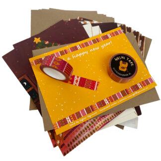 Christmas card set met washi tape